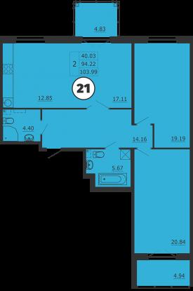 Планировка Двухкомнатная квартира площадью 104 кв.м в ЖК «Образцовый квартал 3»