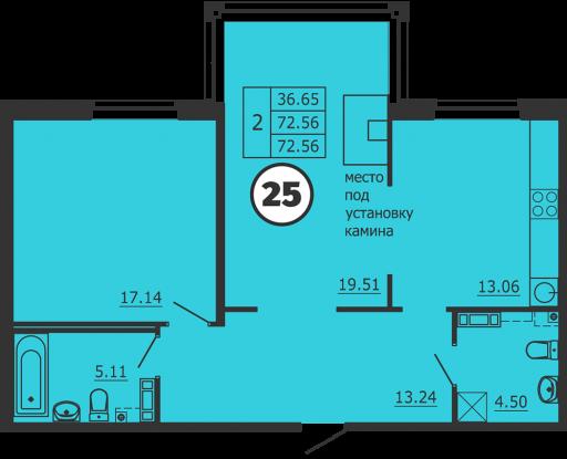Планировка Двухкомнатная квартира площадью 73 кв.м в ЖК «Образцовый квартал 3»