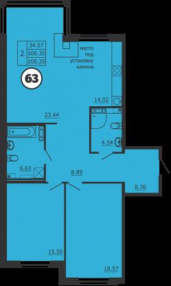 Планировка Двухкомнатная квартира площадью 100 кв.м в ЖК «Образцовый квартал 3»