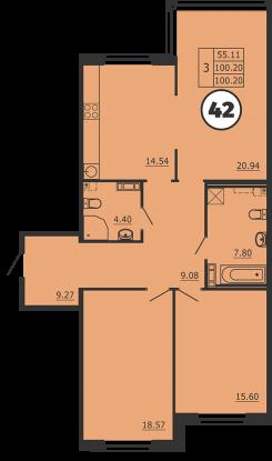 Планировка Трёхкомнатная квартира площадью 100 кв.м в ЖК «Образцовый квартал 3»