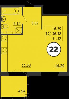 Планировка Однокомнатная квартира площадью 42 кв.м в ЖК «Образцовый квартал 3»