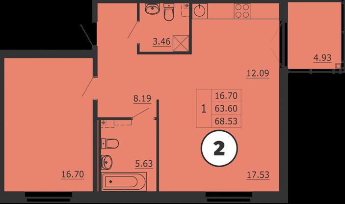 Планировка Однокомнатная квартира площадью 69 кв.м в ЖК «Образцовый квартал 3»